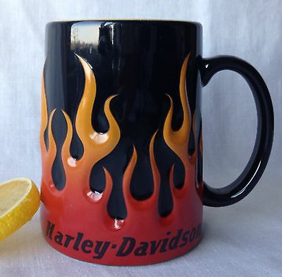 "Harley Davidson Raised Flames Mug 2002 Black Yellow Interior 4.75"" Tall"