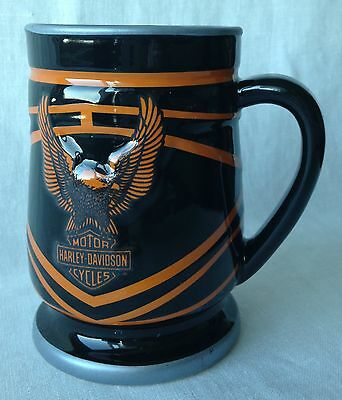 "Harley Davidson Motor Cycles Mug Eagle Black & Orange 4 5/8"" Tall"