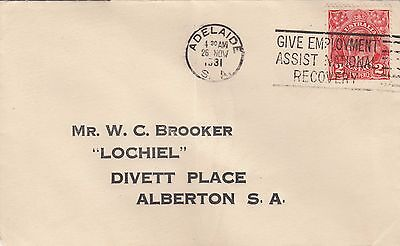 Australia KGV 2D Red Solo Used on Commercial Cover 1931 Adelaide SA Postmark