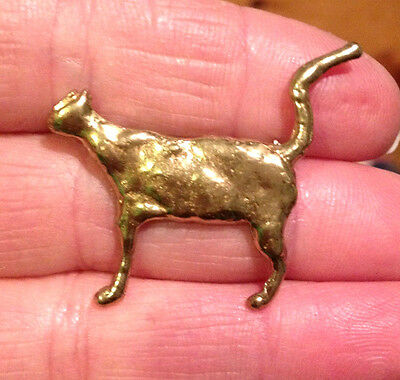 Stylized Goldtone Cat Pin Brooch by Artist ANNE DICK with The look of Real Gold