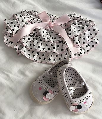 Cute Frilly Bloomers and Matching Shoes Size 0