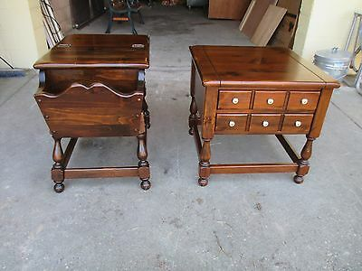 2 Ethan Allen Old Tavern Dough Box End Table Dark Antiqued Pine Colonial