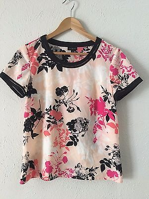 Womens TALBOT FLORAL S/SLEEVE BLOUSE TOP  Size 2