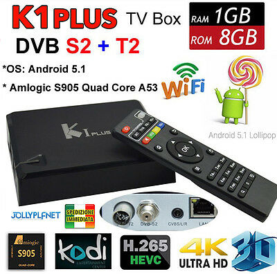 K1 Plus Android 7.1 Quad Core 2GHz Smart TV Caja WIFI DVB-S2 DVB-T2 dual