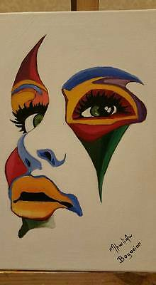 Colorful face original oil painting on canvas no frame Handmade