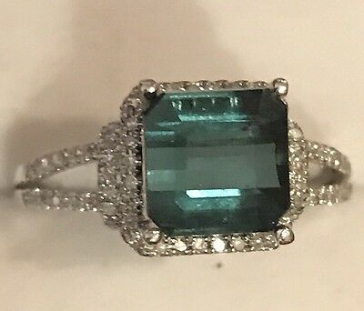 2.40Ct Natural Green Blue Tourmaline And Diamond Ring 14K Solid White  Gold