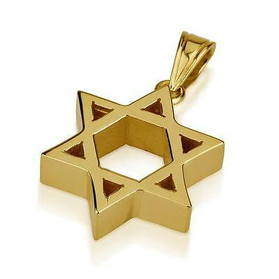 14k Yellow Gold Star of David Necklace Jewish Charm Heavyweight Thick Small 19mm