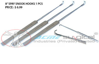 """Spay Snook Hook 8"""" Veterinary Surgical Instruments Japanese Stainless Steel"""
