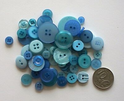 Lighter Blue Mixed Buttons -2 Options 50 & 100 - Scrapbooking Sewing Craft