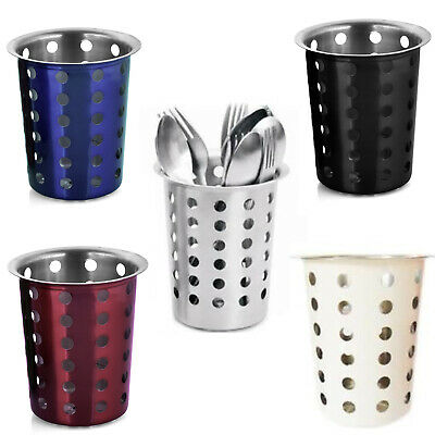EVOKK Cutlery Holders Stainless Cylinder Pot Kitchen Spoons & Forks Organisers
