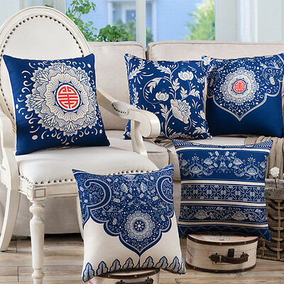 """Vintage Blue White Porcelain Feel Tapestry Throw Pillow Case Cushion Cover 17"""""""