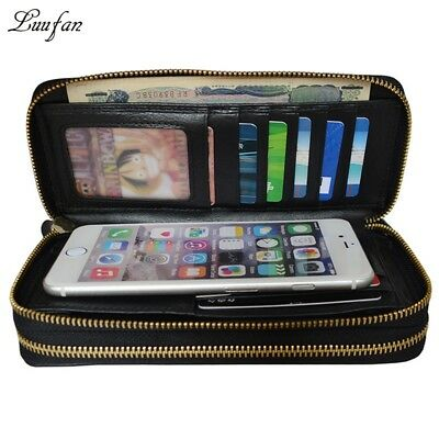 Genuine leather Double zipper clutch wallet for phone Zip around long wallet
