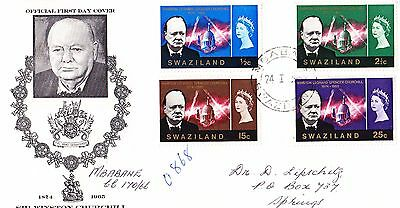 Swaziland 1966 Winston Churchill  First Day Cover - . Addressed
