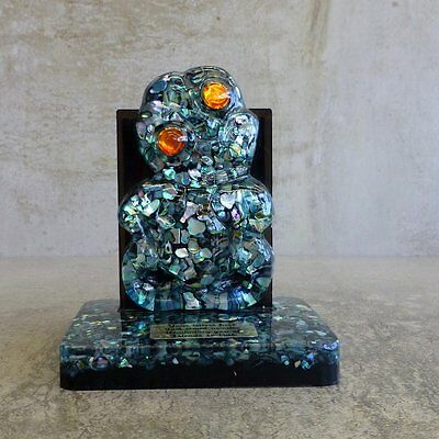 Vintage Paua Shell Tiki Letter Holder Souvenir from New Zealand Crystal Craft