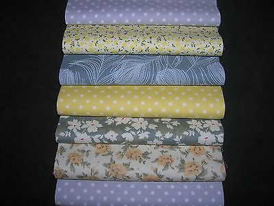 "48 x 5"" CHARM PACK GREY & LEMON 100% COTTON PATCHWORK/QUILTING/CRAFTS LMY"
