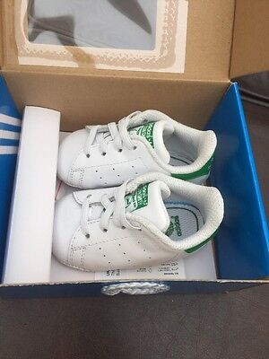 Boys Adidas Infant Stan Smith Pram Crib Shoes Baby's First Size UK Infant 1