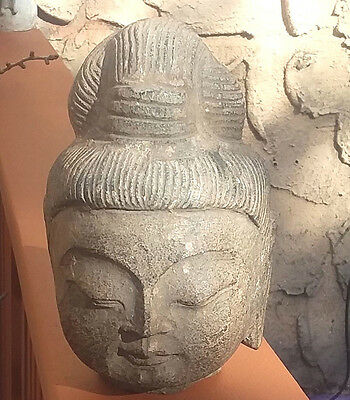 Antique Chinese Stone Buddha Head Hand Carved