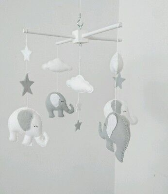 White and light grey elephant mobile - with stars and clouds baby mobile