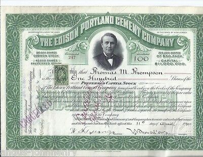 1900 EDISON PORTLAND CEMENT of NEW JERSEY STOCK CERTIFICATE 100 SHARES #247