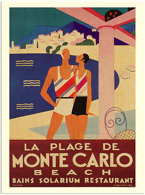 Monte Carlo Beach  Travel  Metal Tin Sign Poster Wall Plaque
