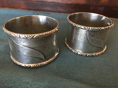 Pair Antique Sterling Silver Napkin Rings Guilloche with Floral Borders