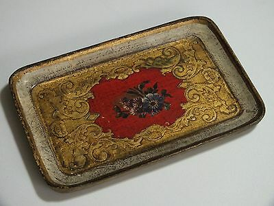 Vintage Gilt Florentine Wood Tray Platter Gold Red Italy