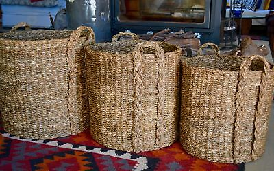 Giant Log Baskets Seagrass Baskets Woven Natural with Handles Chunky