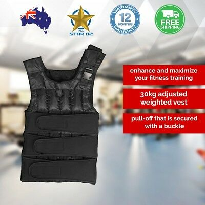 30kg Adjustable Weight Vest Sports Weighted Training Crossfit Fitness Exercise