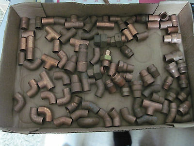 "Lot of 1/2"" sweat copper pipe fittings over 80 pcs"
