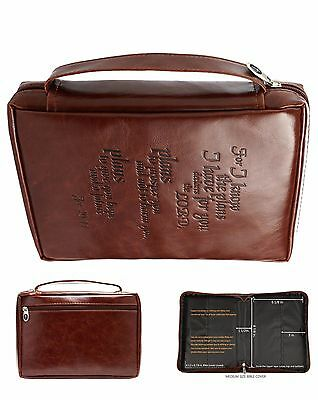 Bible Cover Zipper Medium Leather Feel Holy Book Protective Case Organizer Tote