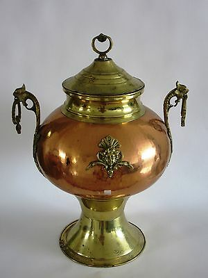 Antique English Large copper/brass jug for drinks decorated with courtyard icons