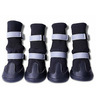 UK 4PCS Waterproof Reflecting All Wheather Pet Dog Puppy Boots Rain Snow Shoes