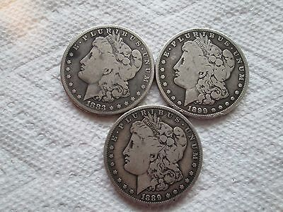 Lot of 3 Genuine U.S. Morgan Silver Dollar Coins 1899/1889/+1883S KEY DATE!!!
