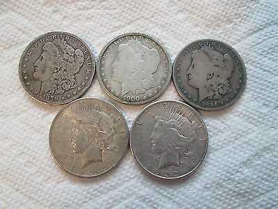 Lot of 5 Genuine U.S. Morgan/Peace Silver Dollar Coins 1879+1896+1900+1923+1926