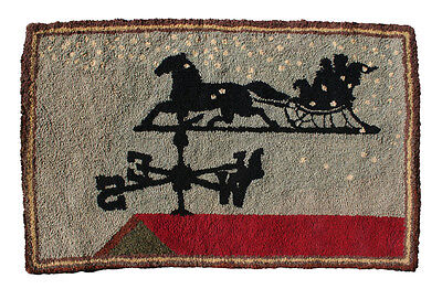 Vintage Hand Hooked Rug, Weather Vane, Winter Scene.