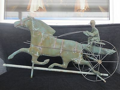 Antique (Late 1800's) Large Copper Sulky Weather Vane (Great Patina)
