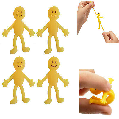 Yellow Stretchy Man Smiley Face Kid's Party Loot Bag Filler Kids Mini Toy 3,6,12