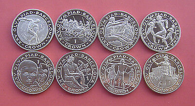 Gibraltar 1992 Barcelona Olympics Crown Copper-Nickel 8 Coins UNC