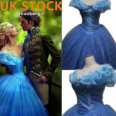 UK STOCK Blue Princess Cinderella Dress Cosplay Costume Adult Party Cosplay NEW