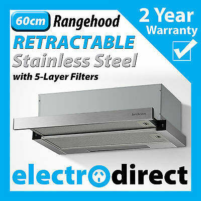 BRILCON 60cm Retracting Slide Out Rangehood Stainless Steel Range Hood 600mm NEW