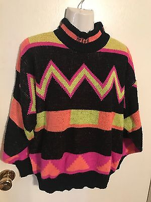 Vintage 90s Ocean Pacific OP Sweater Black Neon  Skater Surf Small