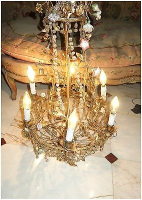 INTRICATE FLOWER BASKET FRENCH ANTIQUE CHANDELIER LIGHT w CRYSTALS PORCELAIN WOW