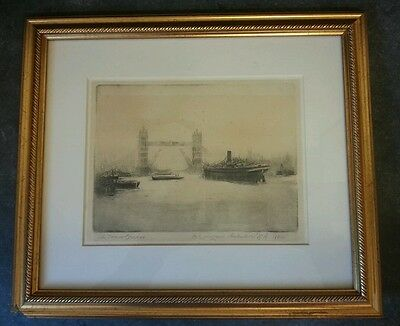 Quality Signed The Tower Bridge Etching Print Framed and Glazed