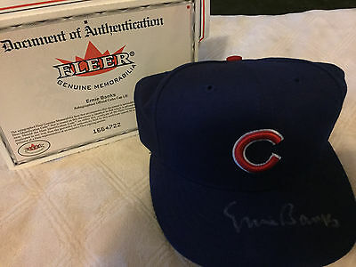 2001 Fleer Legacy MLB Ernie Banks Cubs Fitted Autographed Signed Hat Cap SP /100