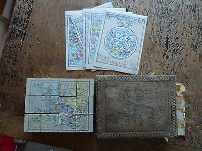 Original 19th Cen Puzzle Blocks Maps of UK Ireland Europe N America 12 Cubes.