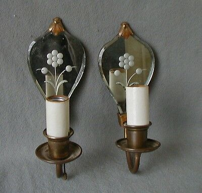 Nice Antique Pair Of Etched Mirror Back & Brass Single Arm Sconces