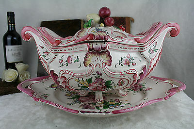 XXL Huge French antique Strassbourg pottery Soup tureen covered vegetables bowl