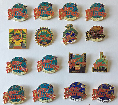 Sixteen Classic Collectable Planet Hollywood Pins
