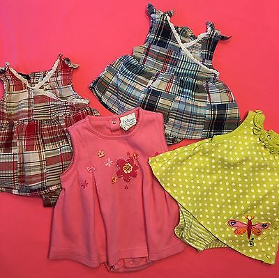 Lot of 4 Outfits Baby Girl Spring Summer Clothes Size NB,  0-3 Months