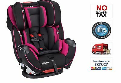 Evenflo All-In-One Convertible Girls Car Seat Symphony DLX, Raspberry Sorbet New
